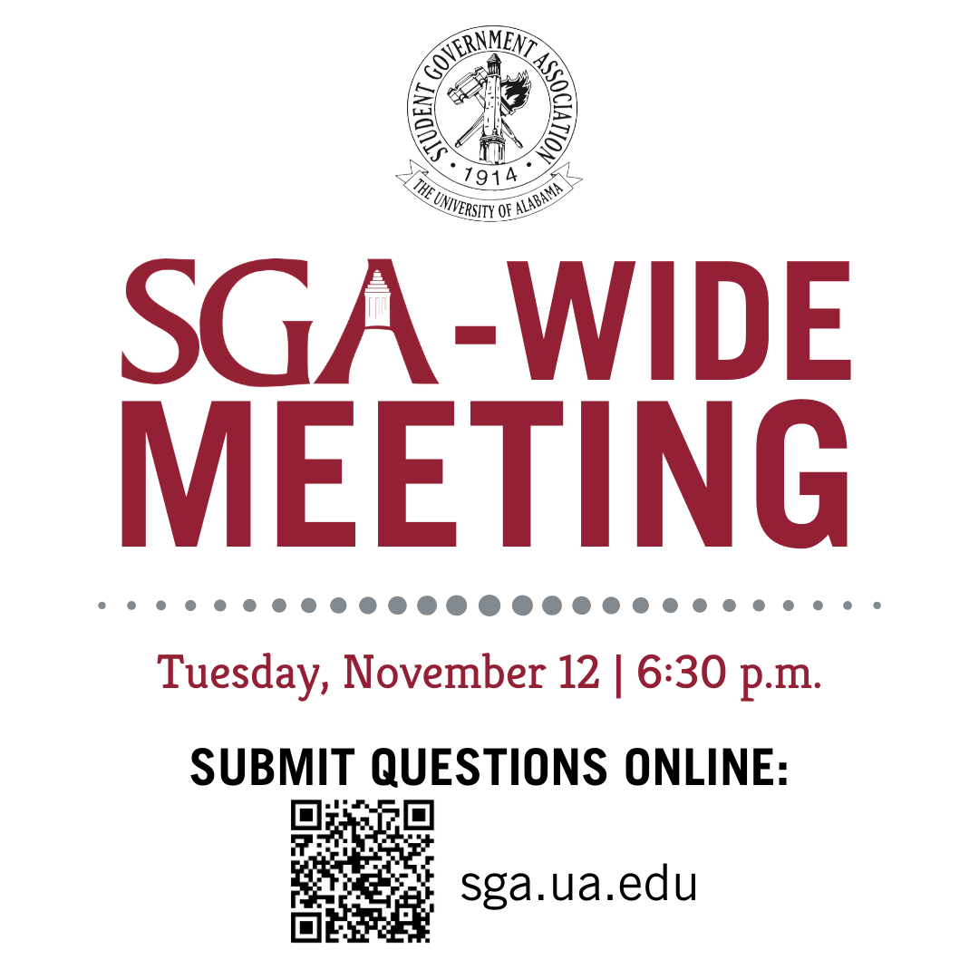 SGA-Wide Meeting on Tuesday November 12th at 6:30 p.m. in the Ferguson Center Ballroom