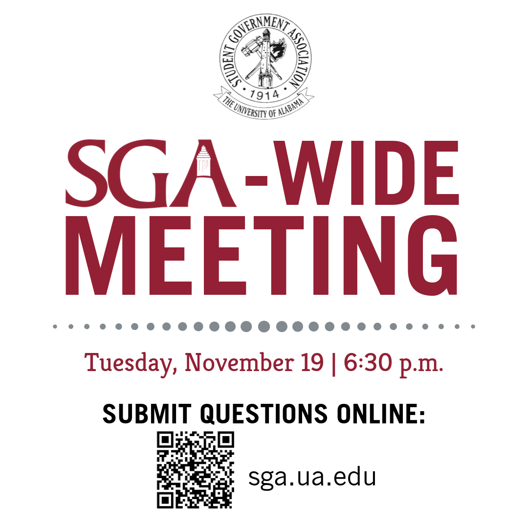 SGA-Wide Meeting on Tuesday November 19th at 6:30 p.m. in the Ferguson Center Ballroom