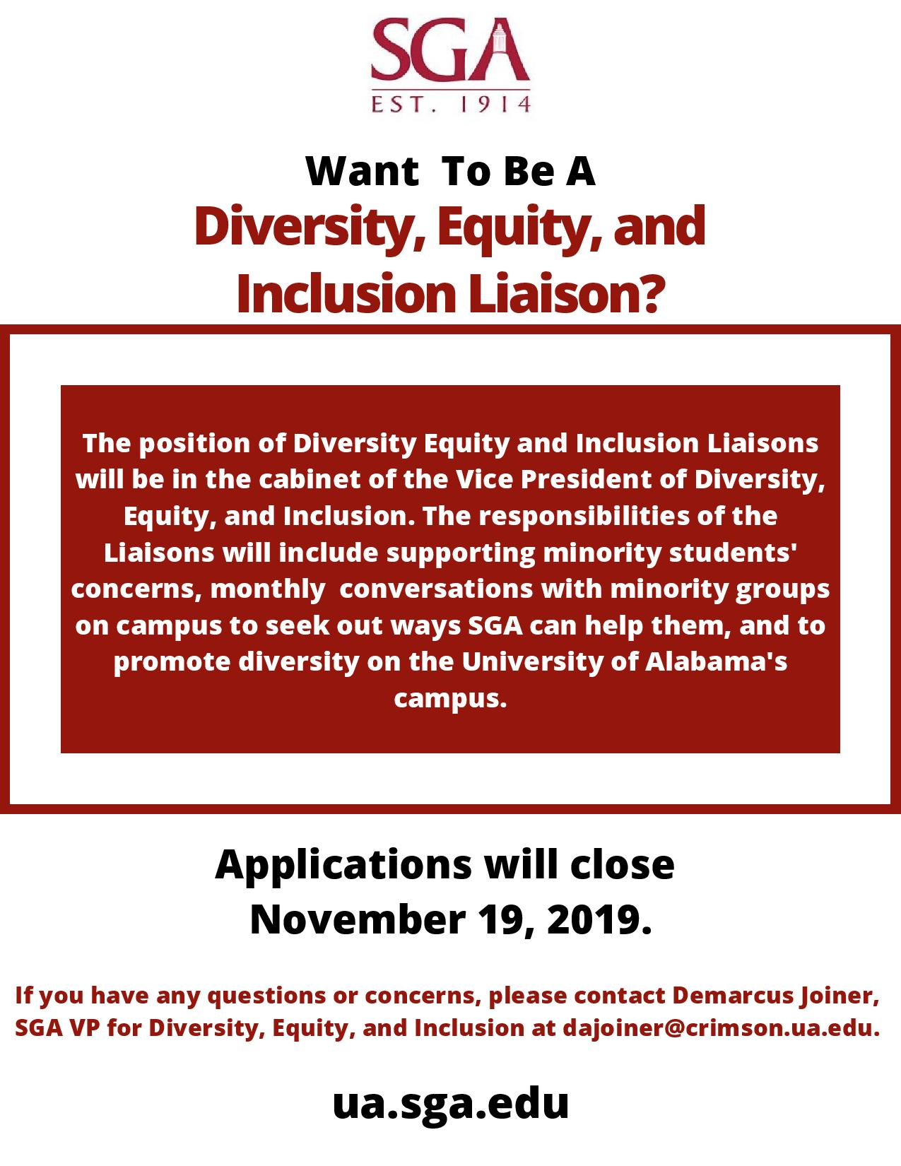 Diversity, Equity, and Inclusion Liaison positions.
