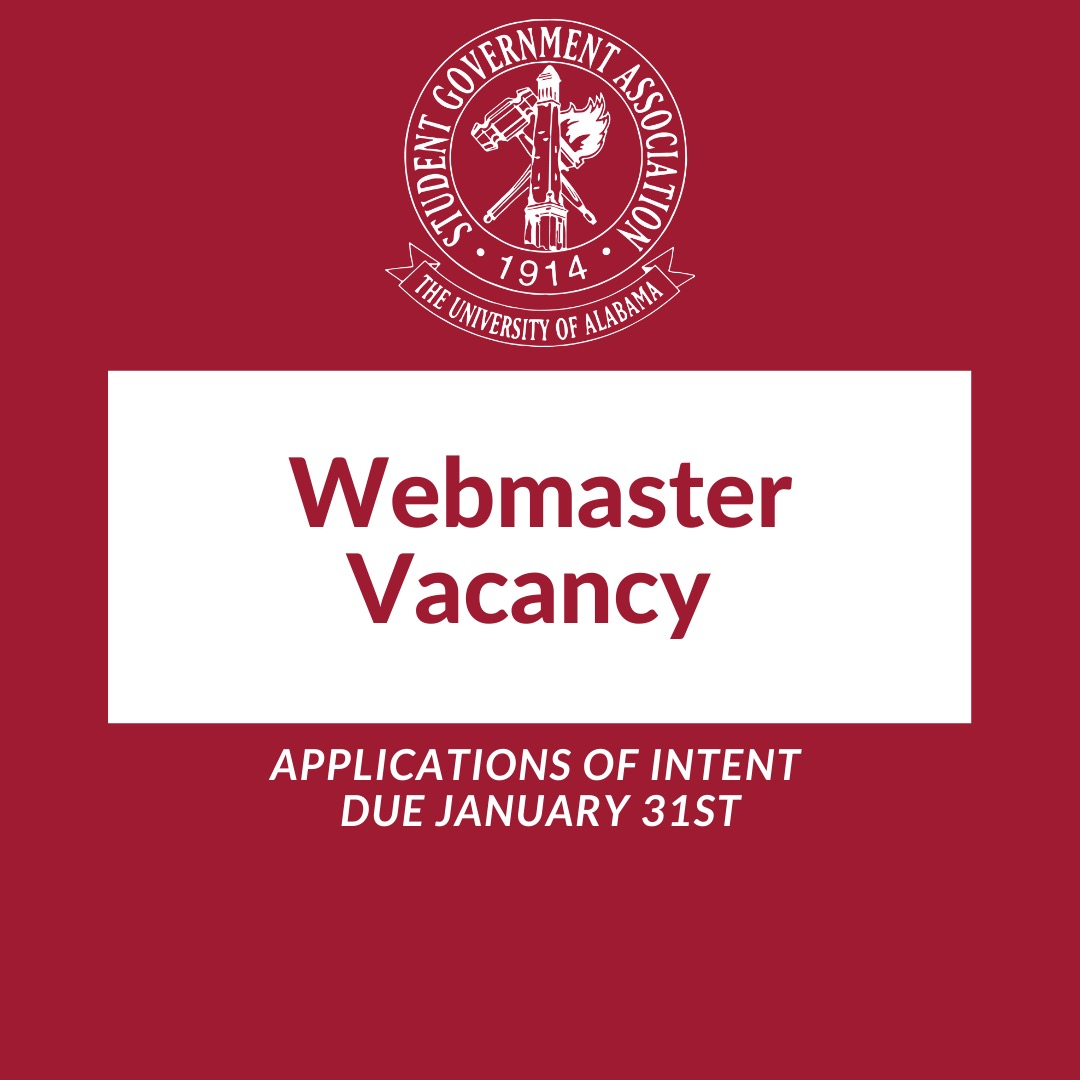 Webmaster Vacancy. Applications of Intent due January 31st