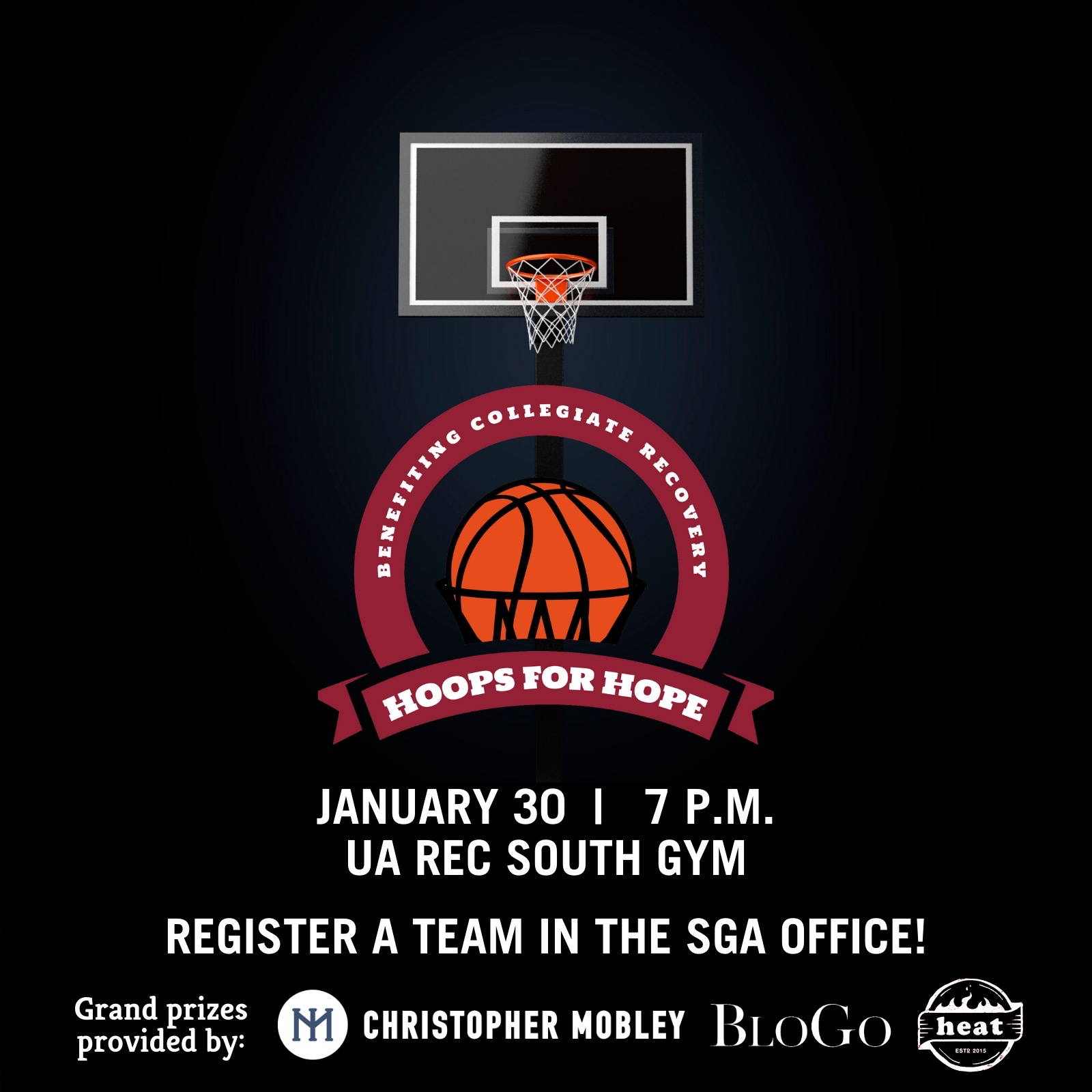 Hoops for Hope benefitting Collegiate Recovery will be hosted January 30th at 7 pm at the UA Rec South Gym. Register your team in the SGA Office