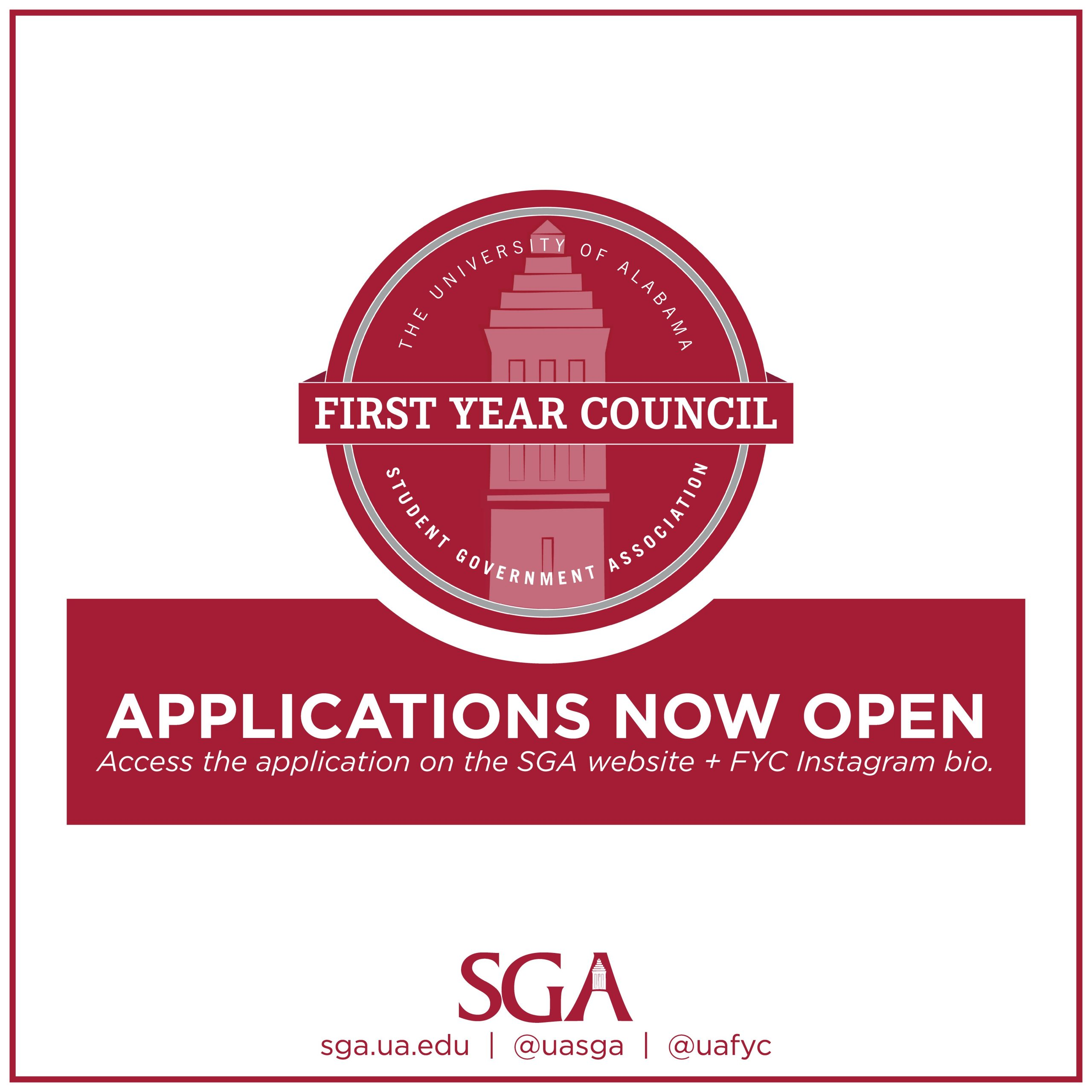 First Year Council 2020 Applications are now open. Access the application on the SGA website and FYC Instagram bio