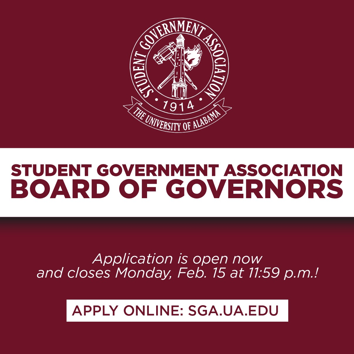 SGA Board of Governors Application are Live