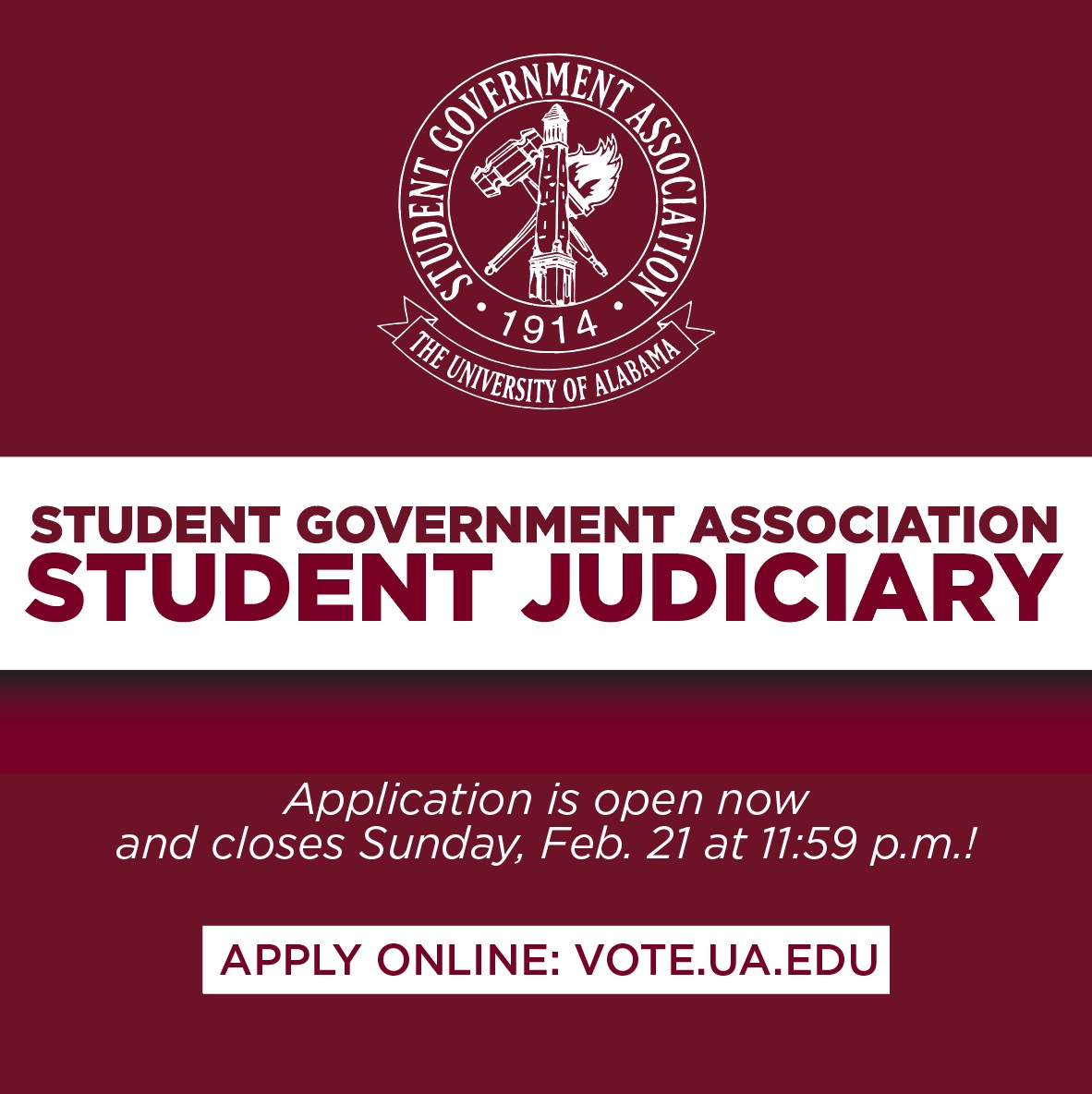 SGA Judicial Board Applications out now until February 21 at 11:59